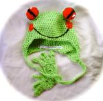 funky Crochet rainforest toddler frog hat