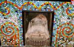 colourful mosaic fireplace