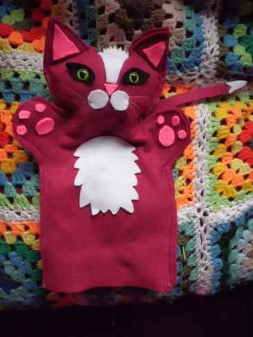 Cat hand puppet made by Diane's Puppets