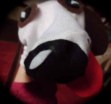 Dog sock puppet made by Diane's Puppets