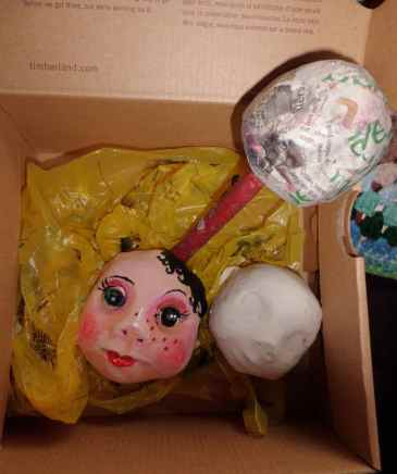 making papier mache puppet heads